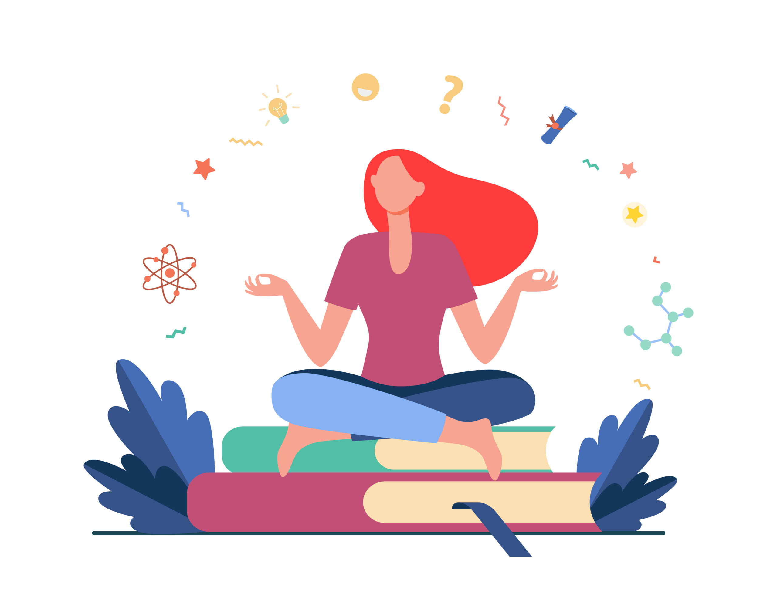 Woman sitting and meditating on pile of books. Student, study, learning flat vector illustration. Education and knowledge concept for banner, website design or landing web page